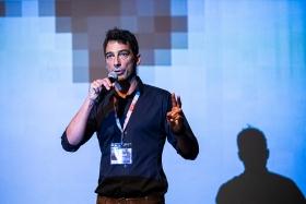 Szabolcs Szirony, organiser, greets the audience / Photo: Zoltán Adrián
