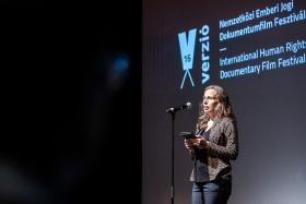Andrea Tompa, writer, opens the 16th Verzió / Photo: Zoltán Adrián