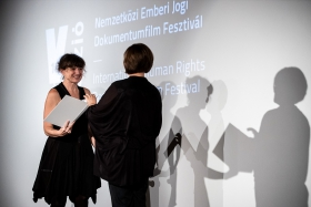 Réka Szabó, director of The Euphoria of Being, receives the Audience Award / Photo: Zoltán Adrián