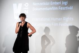Réka Szabó, director of The Euphoria of Being, receives the Audience Award / Photo: Zoltán Adrián