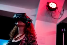 Walking in the 'Zone'. Curatorial walk in the Vektor VR installation by Agnes Bakk / Photo: Balázs Ivándi-Szabó