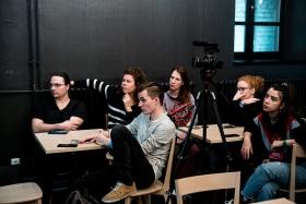 VR in Theatre. Presentation by Wojtek Markowski / Photo: Balázs Ivándi-Szabó