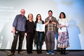 The International Jury congratulates Máté Bartha, director of the winner film Downstream /Photo: Balázs Ivándi-Szabó